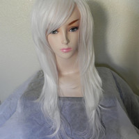 CYBER WEEK SALE // Snow White / Long Straight Wavy Layered Wig Full Body Ice