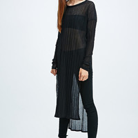 Light Before Dark Maxi Side Split Crinkle Top in Black - Urban Outfitters