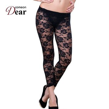 Comeondear TA208 Floral Lace Leggings Women Legging See Through Mesh Leggings Free Shipping White And Black Lace Leggings