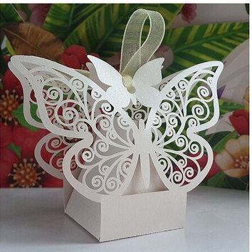 Worldoor® New Arrival 50PS laser Cut Wedding Candy Box Favor Gifts Boxes Wedding Party Centerpieces Holiday Supplies/ wedding hollow butterfly candy box (White)