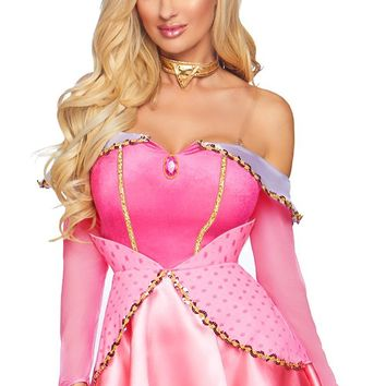 Kiss Me Goodnight Pink Long Sleeve Off The Shoulder Sequin Cut Out Back Peplum Flare A Line Mini Dress Halloween Costume