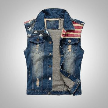 Men's Slim Fit American Flag Sleeveless Denim Vest Outwear