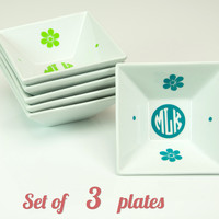 Bridesmaid Gift set of 3 Monogrammed Jewelry Dish with Monogram and Flowers - Accessories Storage Plate, Color Monogram Decal, Wedding gift