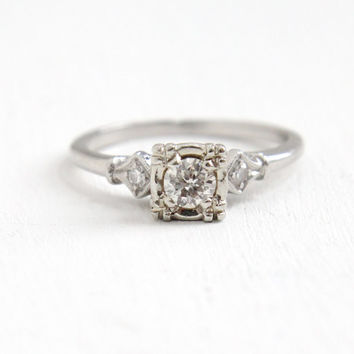 Vintage Platinum Art Deco 1/5 Carat Diamond Ring- Size 5 1/2 1930s 1940s Fine Engagement Jewelry