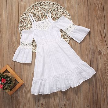 Lace off the shoulder Flower Girls Princess Dress Kids Baby Party Wedding Pageant Lace Dresses Clothes