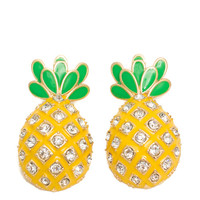 Jeweled Cartoony Pineapple Earrings