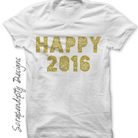 New Year Iron on Transfer - Happy 2016 Iron on Shirt / New Years Shirt Design / Toddler New Years Outfit / Womens Clothing / Mens  IT148-C