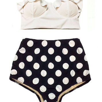 Swimwear, Swimsuit, Bathing suit, White Midkini Top and Polka dot dots Bikini Vintage Swimwear Swimsuit Swim Bath Bathing suit Swim wear S M