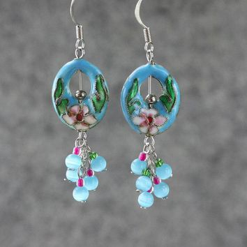 Teal cloisonne Asian Chinese chandelier hoop earrings Bridesmaid gifts Free US Shipping handmade Anni designs