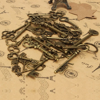 36X Assorted Old Styles Zinc Alloy Antique Skeleton Vintage Retro Keys Charms Necklace Jewelry Pendant Handmade DIY = 1932067844