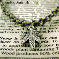 Cannabis Hemp Necklace, Purple Lime Green Hemp Necklace, Cannabis Leaf Jewelry, Marijuana Necklace, 420 Necklace, Hemp Stoner Necklace