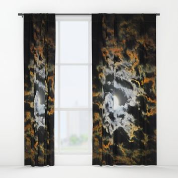 Tiger Full Moon Window Curtains by Azima