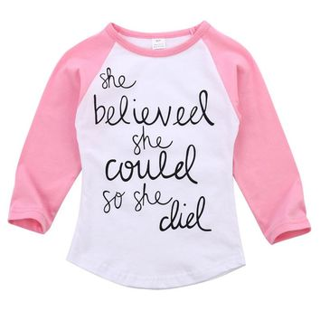 Cute baby Boys girl long sleeve t shirt Cotton white T-Shirts Casual Kids Clothing letter Printed Top Tees Soft Boys T Shirt