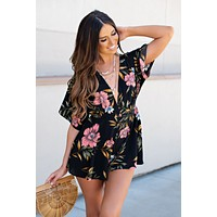 Catch The Moment Printed Romper (Black Floral)