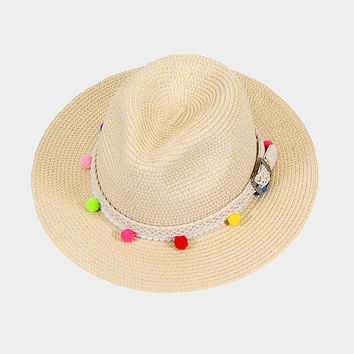 Beige Multi-Color Rainbow Pom Pom Trim Belted Sun Hat