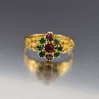 Elegant Antique Emerald and Garnet Locket Ring