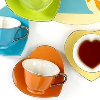 Classic Coffee & Tea by Yedi Drinkware, Inside Out Heart Tea Cups and Saucers, Set of 6 - Casual Dining - Kitchen - Macy's Bridal and Wedding Registry