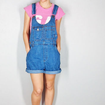 cutest Overall Shorts size small // womens overalls denim overalls womens denim overalls
