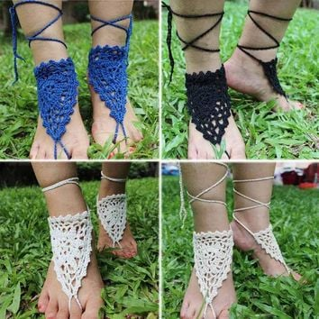 DCCKWQA Handmade Hearts Shape Knitted Crochet Lace Anklet Summer Women Ankle Bracelet Foot Jewelry Bohemian Barefoot Sandals