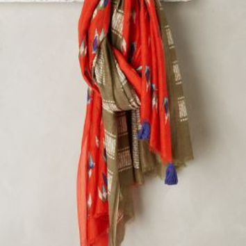Dashing Crane Scarf by A Peace Treaty for Anthropologie in Red Size: One Size Scarves