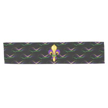 Fleur de Lis Mardi Gras Beads Black Table Runner