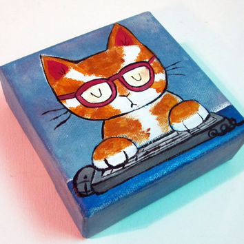 childrens decor kids wall art original art kids painting childrens painting nursery art nursery decor nerd cat computer nerd cat art