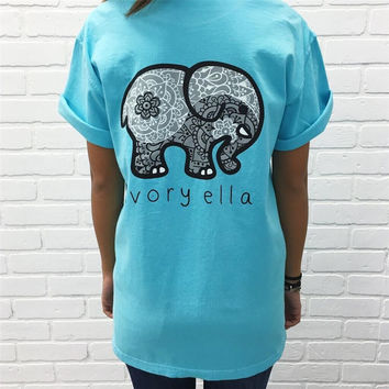 Sky Blue Short Sleeve T Shirt for Women