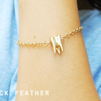 Gold Tooth Bracelet - Sweet Tooth - Black Feather