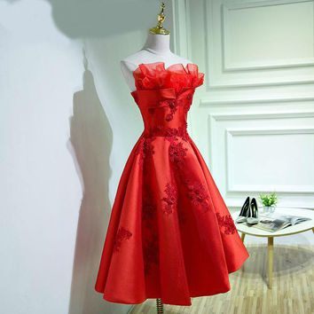 Evening dresses a line sleeveless strapless embroidery red prom dress with lace-up back short prom dresses