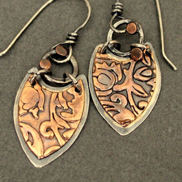 copper earrings - mixed metal earrings - silver and copper earrings - bohemian earrings - boho mixed metal earrings  - lightweight earrings