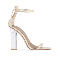 Barely There Lucite Heels Gold