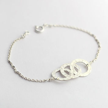 Sterling Silver 3 Circles Charm Bracelet, best friends gift