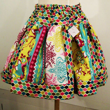 Girls Stripe Work Skirt and Floral with Pinks yellows and aqua-#347