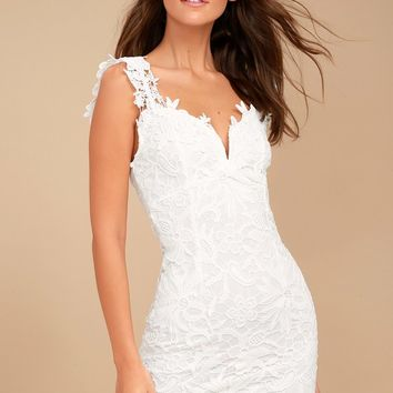 Uno, Dos, Lace White Lace Bodycon Dress