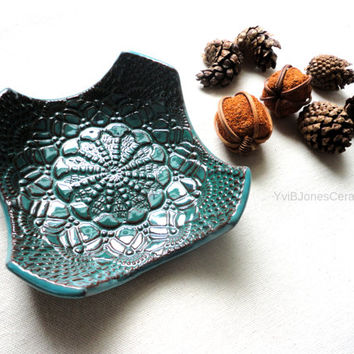 Dark Blue Green Ring Dish, Multifunctional Small Pottery Dish, Cottage Style Lace Impressed Ceramic Plate