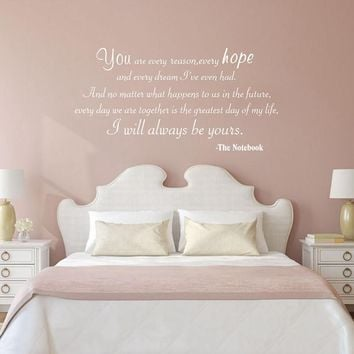 """Free shipping THE NOTEBOOK """"I will always be yours"""" quote words ROMANTIC Vinyl Wall Decal Stickers Bedroom Decor m2011"""
