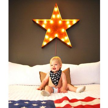 "36"" Large Star Vintage Marquee Sign with Lights (Rustic)"