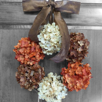 Fall Hydrangea Wreaths, Thanksgiving Wreaths Etsy, Holiday Wreaths, Fall Hydrangea Wreaths for Front Door, Outdoor Autumn Wreaths