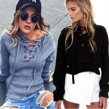 Hot Popular 2017 Trending Fashion Women Hollow Bandage Sexy Loose Long Sleeve V Neck Erotic Top T-Shirt _ 12206
