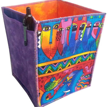 Storage Organizer Tissue Box Holder In Laurel Burch Jungle Song Fabrics