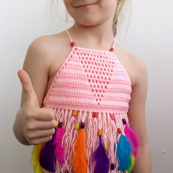 TODDLER TOP FEATHERS Beads Fringe Festival Corset Crochet Fringe Summer Halter Top Tank Top Crochet Fringe Beach