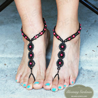 Barefoot Sandals, Beaded Barefoot Sandals, Black Barefoot Sandals, Bottomless Sandals, Beach Shoes, Wedding Shoes, Goth Barefoot Sandals