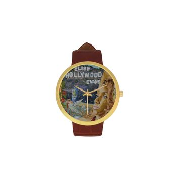 EHE_hollwood_limited Women's Golden Leather Strap Watch(Model 212)