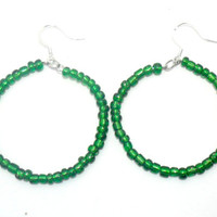 Green Seed Bead Hoop Earrings , Beaded Hoop Earrings , Glass Bead Earrings , Fashion Jewelry ,Christmas Earrings , Jewelry Gifts