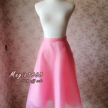 Fairy Pink Circle Skirt. Women Tulle Skirt. Summer Princess Skirt. Ballet Skirt. Pink Ruffle Long Skirt   - magic1668(T188)
