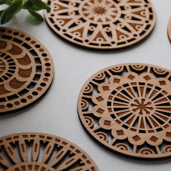 Geometric Wood Cut Coasters   Laser Cut Adler Wood Coasters   Set Of 5