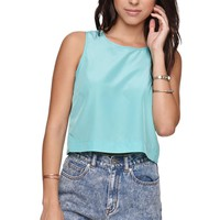 LA Hearts Button Back Cropped Tank - Womens Shirts - Green -