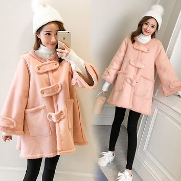 Trendy 6253# Sweet Pink Thicken Velvet Maternity Coats 2018 Autumn Winter Fashion Jackets Clothes for Pregnant Women Pregnancy Outwear AT_94_13