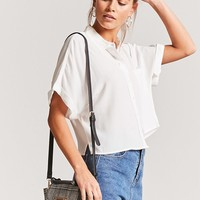 Crepe Cuffed Short-Sleeve Shirt