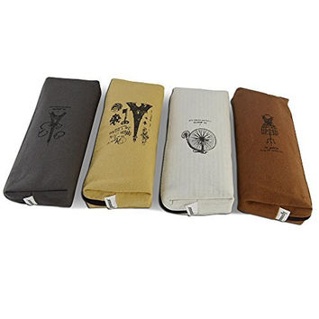Set of 4, Ipow Hot Vintage Canvas Student Pen Pencil Case Coin Purse Pouch Cosmetic Makeup Bag